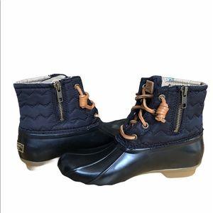 Sperry Saltwater Duck Boots Navy/Tan 6.5